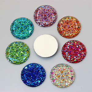 30 Adet 30mm AB Renk Yuvarlak Şekil Reçine Rhinestones Kristal Flatback Düğmeler Boncuk Takı Aksesuarları El Sanatları Için ZZ521