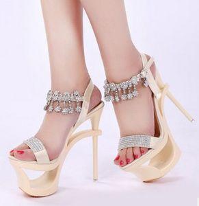 wholesaler free shipping factory price round nose peep toe plat form sexy 15cm diamond high women sandals130