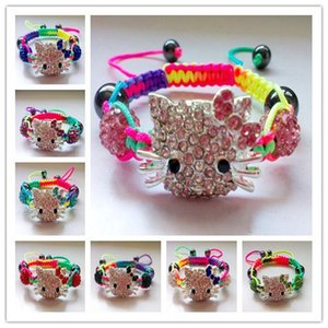 High End Summer Sale Fashion Jewelry Colourful Line Crystal Rhinestones Beads Handmade Charm Shamballa Hello Kitty Bracelets Bangles Kid