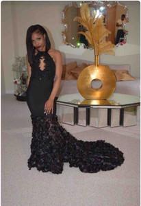 Сексуальные черные платья выпускного вечера длинные 2K17 Холтер Cap рукава 3D цветочные цветы кружева длинные часовня поезд формальные Русалка Платье вечернее Dressess