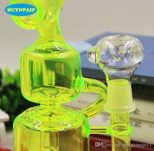 2016 bongos Chuveiro de gaiola Percolater Água Percolator Duplo Klein Recycler Bongo de vidro Tubos de Água Verde Fluorescente