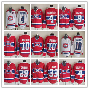 Vintage 10 Guy Lafleur Jersey Montreal Ice Hockey 4 Jean Beliveau 9 Maurice Richard 29 Ken Dryden 33 PATRICK ROY Retro CCM Jerseys baratos