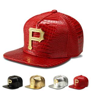 Diamant-Buchstabe P Mode Hip-Hop-Kappen PU Leder Sport Hüte Baseball Caps Frauen Männer ausgestattet Snapback Hüte