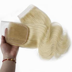 Remy Droite Haut Fermeture Vague de Corps Fermeture de Cheveux Humains Partie Libre 4x4 Brésiliens Vierge Cheveux Suisse Dentelle Pièce De Fermeture # 613 Blanchi Noeuds