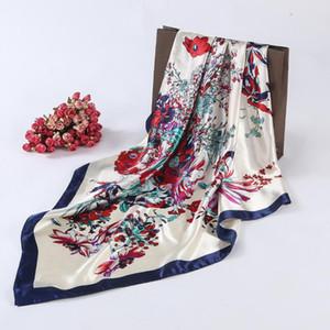 Al por mayor-2016 Pañuelo de Seda Cuadrado Para Las Mujeres Diseñador de lujo Señoras Bufandas Hijab Femenina 90 * 90 cm Fan Style Primavera Otoño Nueva Moda