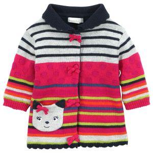 Nova dos desenhos animados do inverno das crianças meninas fleece espessamento casaco camisola gato crianças stripe camisola por atacado