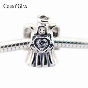 Christmas Gift 925 Sterling-Silver-Jewelry Angel of Love Clear CZ Charm Beads for Jewelry Making Fits European Charms Bracelet