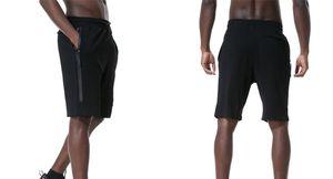 Fleece Sport Shorts Zipper tasca dei pantaloni sportivi pantaloni casual Grigio Nero S-XL