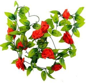 240 سنتيمتر وهمية الحرير الورود اللبلاب كرمة الزهور الاصطناعية مع الأوراق الخضراء للمنزل الديكور الزفاف شنقا جارلاند ديكور مضاهاة زهرة