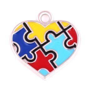 10pcs 아연 합금 소재 로듐 도금에 나 멜 크로스 심장 크로스 모양 퍼즐 조각 매력 자폐증 펜 던 트 법에 대 한 매력