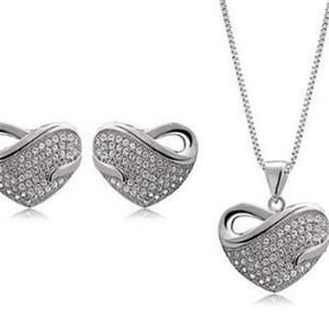Алмазное ожерелье DHL серьги набор Корея Стиль Очаровательная форме сердца ожерелье Оптовая наборы Кристалл серьги ожерелье для свадьбы