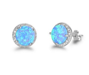 2018 S925 pure silver Nice handmade Blue opal earrings trendy simple wholesaling Mosaic piercing earring for Women Jewelry 5 Pairs 41
