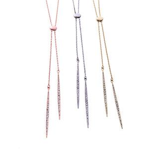 New Lastest Design Fashion Wholesale Costome Women's Jewelry Long Chain Rhinestone Pendant Necklace Gold Silver Pink