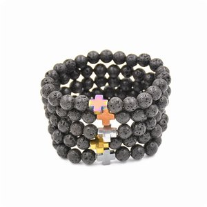 New Natural Black Lava Stone Beads Bracelet Fashion Men Ematite Beaded Cross Charm Bracciali Gioielli Yoga