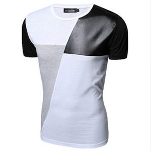 M-XXL T-Shirt De Couro PU Homens de Alta Qualidade Splice manga curta T-Shirt Moda Algodão Casual O-pescoço hip hop Mens Tops Tee
