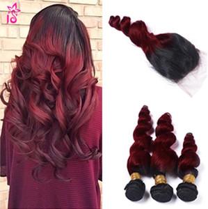 Ombre Brazilian Loose Wave cabello virgen humano 99j borgoña flojo rizado barato 3 paquetes wiith trama de cabello humano con cierre de vino rojo