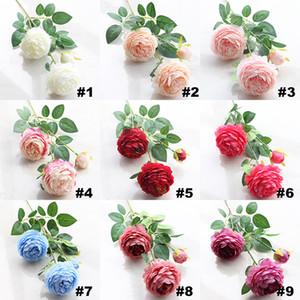 2017 Yapay Çiçekler Güller Şakayık Üç Çiçek Başkanları Bahçe Düğün Dekorasyon Simülasyon Sahte Çiçek Başkanı Noel Hediyesi HH7-153