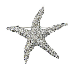 Banhado Bouquet lindo Crystal White Starfish Broche Lady Partido Pin Mulheres Moda Big Star Broach Silver Star Pinos Mujer Bijoux casamento