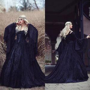 Rétro 2018 noir robes de mariée gothique de l'épaule une ligne Bell manches longues pleine dentelle médiévale Corset robes de mariée