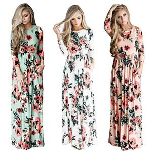Verão boho beach dress moda floral impresso mulheres longo dress three quarter manga solta maxi dress vestidos