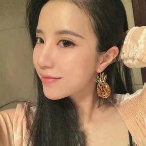 New Design Luxury Sexy Glass Crystal Pineapple Earring For Women's Ladies Jewelry Shape Earring Cute Style Ear Drop Piercing Free Shipping