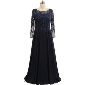 Long Lace Chiffon Mother Of The Bride Dresses 2018 Navy Blue Beaded Mother Dress Elegant Formal Dresses