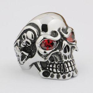 Linesion enorme pesado 316L aço inoxidável vermelho cz olhos titan crânio anel mens meninos bicicleter rock punk estilo 3a601