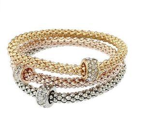 Europa e nos Estados Unidos explode liga pulseira de três - cor pulseira cadeia stretch terno milho diamante