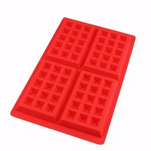 4 Cavity Waffel-Hersteller-Silikon-Form-Kuchen-Schokoladen-Fertigkeit-Süßigkeit Soap-Backen-Form DIY Küchen-Backen-Werkzeug Waffle Moulds