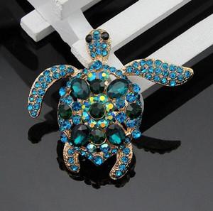 Banhado A ouro Brincos de Tartaruga de Cristal Engraçado Strass Completa Pinos de Broche de Tartaruga de Presente de Natal Moda Festa de Jóias Traje Breastpin