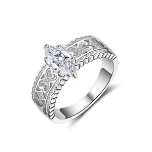 Ventes chaudes Anneaux De Luxe Pavé Rectangle CrystalCZ WeddingEngagement Rose Or Couleur Anneau Bijoux Pour Femmes