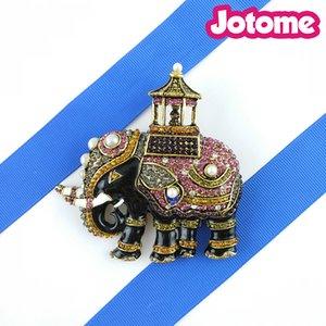 50 unids / lote 2017 8 cm * 8 cm Hombres Tailandia encanto grande Elefante Elementos Crystal Vintage Broches Pin para Traje
