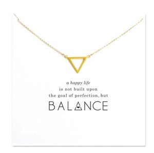 With Card Hollow Triangle Balance Pendants Dogeared Necklace For Women Clavicle