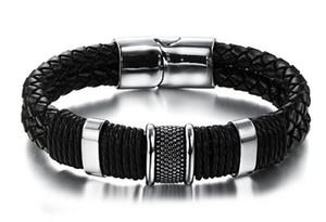 Venta caliente al por mayor del mercado europeo y americano del estilo que pone la pulsera de cuero de la hebilla magnética