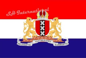 Holland the Netherlands Amsterdam City Coat of Arms Flag 3ft x 5ft Polyester Banner Flying 150* 90cm Custom flag outdoor