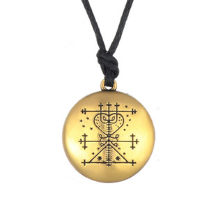 Maman Brigitte Voodoo Loa Veve Colgante Talisman dinero Riqueza amuleto joyería joyería collar estampado mano de Viking Plata Oro