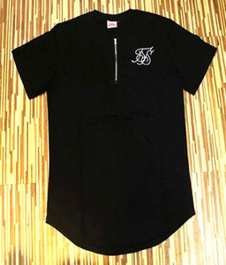 Al por mayor-2016 Nueva supbig sik seda siksilk camiseta negro blanco punto estilo largo Hip Hop camiseta camisetas Tops hombres Longline camisetas con