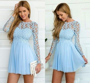 Luz do Céu Azul Sheer mangas compridas regresso a casa Cocktail Vestidos Prom Dress 2017 Applique Lace Júnior férias Vestidos casuais