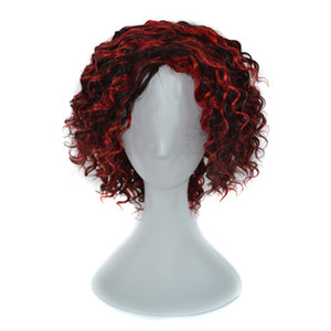 100% Human Hair Wig Capless Wigs Women Deep Curly Black Ombre Red Wine Hair Wig 240g 14 inch