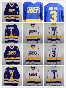 Mens # 1 Denis Lemieux Charlestown Chiefs Jersey # 3 Dave Killer # 7 Dunlop 16 17 18 Hanson Slap Shot Película Hockey Jerseys Cosido Blanco Azul