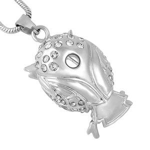 Collar de búho de acero collar de joyas CREMACION MEMORY PENDIENTE IJD9740 URN ASHES MANTENIMIENTO INOXIDABLE CRISTAL Forma PXSLE