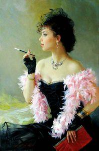 Enmarcado, Lotes al por mayor, R349 #, Impresionista niña noble, Pintura al óleo pintada a mano pura Arte Pintura al óleo Tamaños múltiples se pueden personalizar