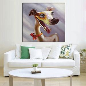 مؤطرة الطفل الكلب، رسمت باليد النقي حديث تجريدي فن زيت صورة زيتية الحيوان المنزل جدار ديكور في حجم قماش عالية الجودة يمكن تخصيصها