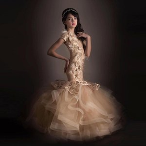 Шампанское Русалка цветочница платья 3D цветочные аппликация милые девушки театрализованное платье маленькие дети День Рождения Пром платья
