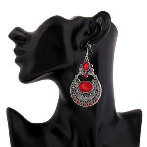 Gümüş kaplama Gem Dangle Küpe Bohemian Büyük Metal Kırmızı Kristal Çingene Etnik Maxi Vintage Uzun Bırak Küpe Kadınlar Için 2017 Moda Takı