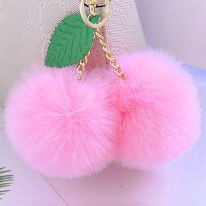 2 개 귀여운 가짜 토끼 모피 공을 응원 체리 키 체인 무성한 자란 키 체인 홀더 폼은 폼은 장난감 열쇠 고리 가방 매력 자동차 악세사리