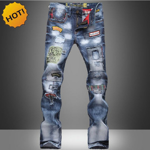 HOT2017 Moda Hip Hop Dance Denim Jeans Uomo Cowboy Multi Patch Lavaggio Stampato Street Wear Straight Slim Fit Hole pantaloni strappati