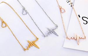 Vente en gros nouvelle arrivée individualité pendentif ECG necklace collier titane acier rose partie or cadeau de mode bijoux bijoux livraison gratuite