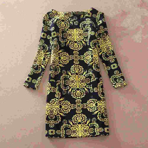 Abito invernale femminile 2017 manica lunga Sexy vintage stampa floreale abito femminile Autunno femminile casual abiti da ufficio Plus Size Dress