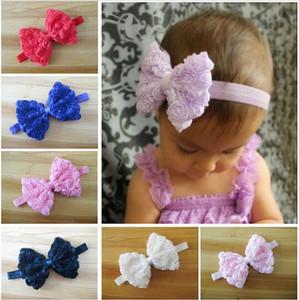 Mode Heißer Verkauf Bunte Baby Mädchen Kind Stirnband Bogen Spitze Blume Haarband 10 Farben Drop Shipping HJIA1100